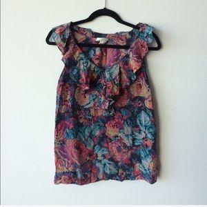 Moulinette Soeurs ruffle collar Floral silk top